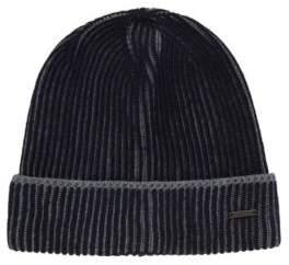 BOSS Hugo Knitted beanie hat in two-tone virgin wool One Size Open Blue