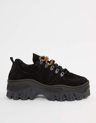 Bronx black suede chunky sole sneakers