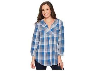 Roper 1262 Blue Grey Plaid Women's Long Sleeve Pullover