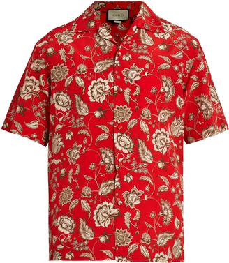 GUCCI Floral-print silk crepe de Chine shirt $850 thestylecure.com