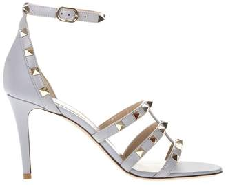 Valentino Grey Leather Studs Sandal