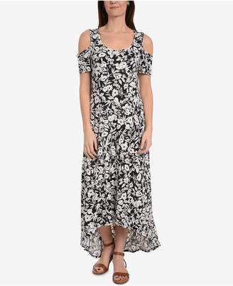 NY Collection Printed Cold-Shoulder Dress