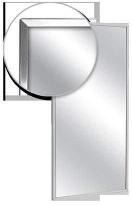 AJW U7118B-1624 Channel Frame Mirror, Stainless Steel Surface - 16 W X 24 H In.