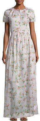Brock Collection Dean Button-Front Floral-Print Cotton Voile Long Dress