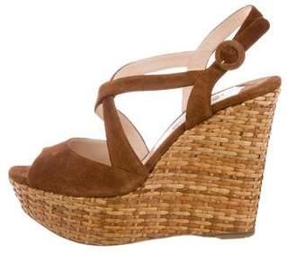 Prada Suede Platform Wedge Sandals