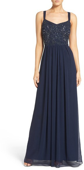 Adrianna Papell Women's Adrianna Papell Embellished Bodice Chiffon Gown