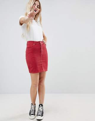 bb85163aa Asos Design DESIGN cord original skirt in washed red