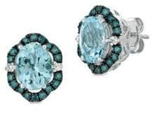 LeVian Le Vian Exotics 14K Vanilla Gold, Sea Blue Aquamarine, Blueberry Diamonds & Vanilla Diamonds Earrings