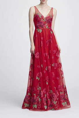 Marchesa Sleeveless Floral Gown