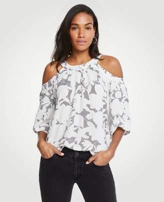 Ann Taylor Petite Shadowed Floral Cold Shoulder Tie Back Top