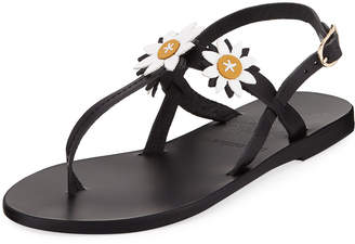 Ancient Greek Sandals Sylvie Leather T-Strap Sandal w/ Flower Appliques