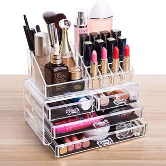 Cq acrylic 4 Drawers and 16 Grid Makeup Organizer with Cosmetic Storage Cases