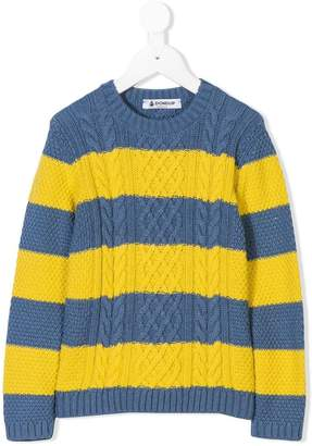 Dondup Kids cable knit striped sweater