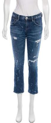 Gold Sign Low-Rise Straight-Leg Jeans