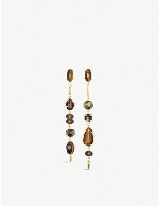 Kendra Scott Cosette asymmetric 14ct yellow gold-plated brass and tigers eye drop earrings