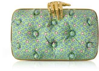 Benedetta Bruzziches Frogs Printed Green Satin Silk Carmen Clutch W/ Golden Hand