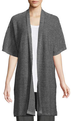 Eileen Fisher Short-Sleeve Organic Linen Kimono Cardigan, Plus Size
