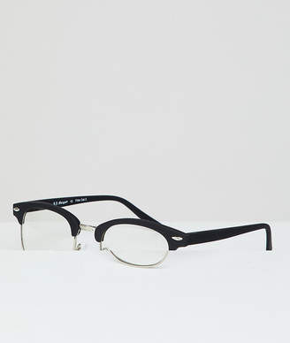 A. J. Morgan Aj Morgan AJ Morgan retro clear lens glasses in black