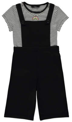 George Dungaree Culottes and Striped T-Shirt Outfit