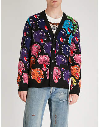 Gucci Multi-coloured leopard wool cardigan