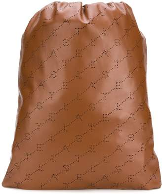 Stella McCartney logo perforated drawstring backpack