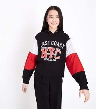 New Look Teens Black Colour Block Sleeve Printed Hoodie