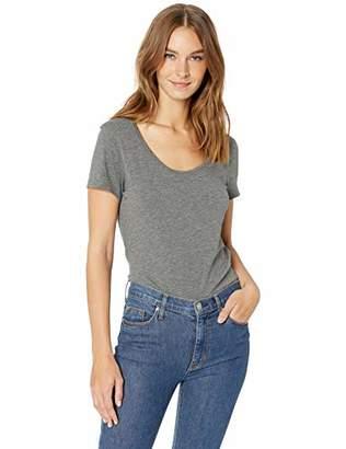 Lark & Ro Women's Short Sleeve Jersey Pima Cotton/Modal Scoop Neck T-Shirt
