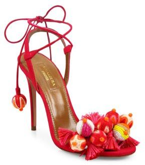 Aquazzura Tropicana Embellished Suede Sandals $850 thestylecure.com