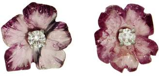 Irene Neuwirth One-Of-A-Kind Pink Tourmaline and Diamond Flower Stud Earrings