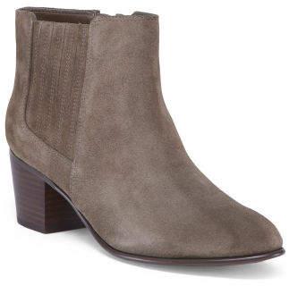 Stacked Heel Comfort Suede Booties