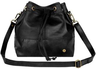 MAHI Leather - Classic Bucket Drawstring Bag In Black Leather