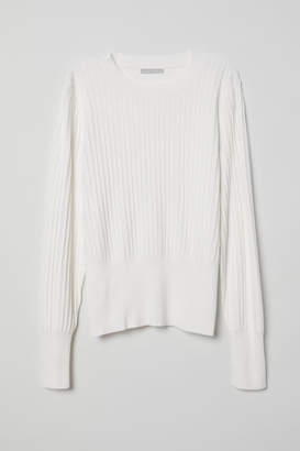 H&M Rib-knit Sweater - White