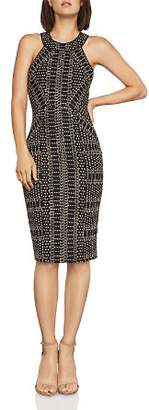 BCBGMAXAZRIA Pyramid-Jacquard Sleeveless Sheath Dress