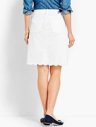 Talbots Embroidered Scallop-Hem Denim Skirt