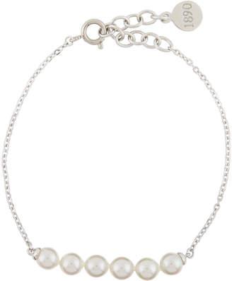 Majorica Beaded 5mm Simulated Pearl & Chain Bracelet, White
