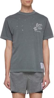 Satisfy 'Moth Eaten' reflective slogan print T-shirt