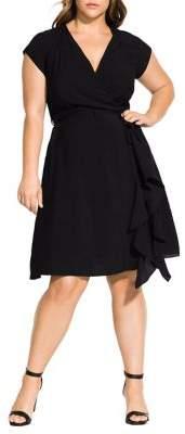 City Chic Plus Satin Ruffle Dress