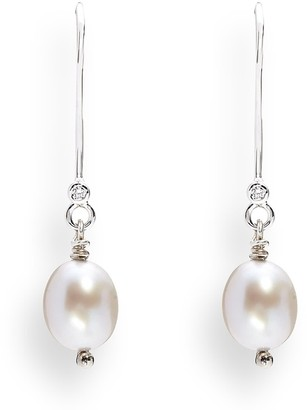 Kaizarin June Birthday White Pearl Drop White Gold Earrings