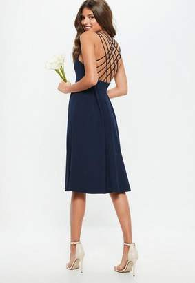 Missguided Bridesmaid Navy 90s Neck Strappy Skater Midi Dress