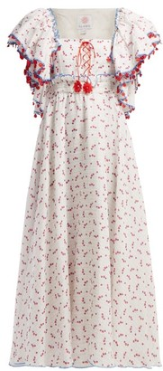 Gül Hürgel Floral And Grid Print Linen Midi Dress - Womens - White Print