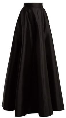 Amanda Wakeley - Atelier Wool Blend Satin Maxi Skirt - Womens - Black