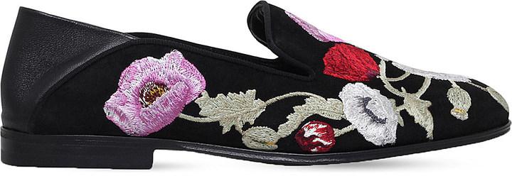 Alexander McQueenAlexander Mcqueen Floral-embroidered suede loafers