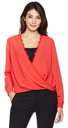 Suite Alice Long Sleeve V-Neck Wrap Front Lace Trim Woven Blouse