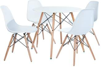 Very Paris 80 cm Round Dining Table + 4 Chairs - White