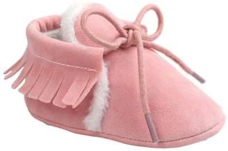 Leapfrog Toddler Baby Boy Girl Winter Moccasins Tassel Lace Up Fleece Sole Prewalker Shoes Dark Grey