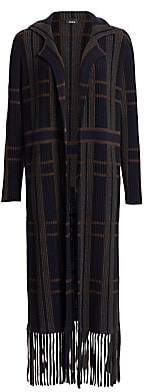Akris Women's Plaid Fringe Hem Duster Cardigan