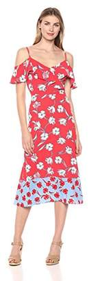 London Times Women's Spaghetti Strap Cold Shoulder Ruffle Maxi Dress