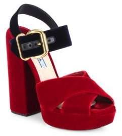 Prada Bicolor Velvet Crisscross Platform Sandals