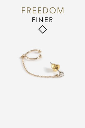 Topshop Womens **Freedom Finer Stud And Cuff - Gold