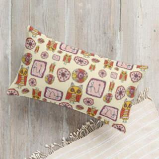 Hi Owl Doodles Lumbar Pillow